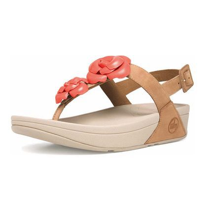 Fitflop Floretta Thong Sandal Red Tan For Women