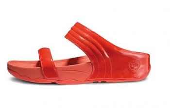 Women FitFlop Walkstar Slide Leather Mineral Red