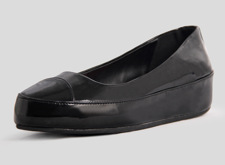 Womens Fitflop Due Patent Leather Black Ballet Pumps