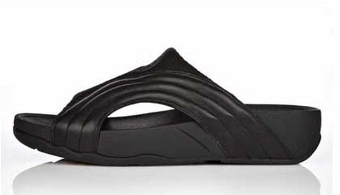 Black Mens Fitflop Freeway Slide Toning Sandal
