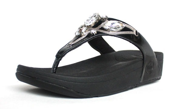 Womens Fitflop Black Thong Sandal Hot Sale