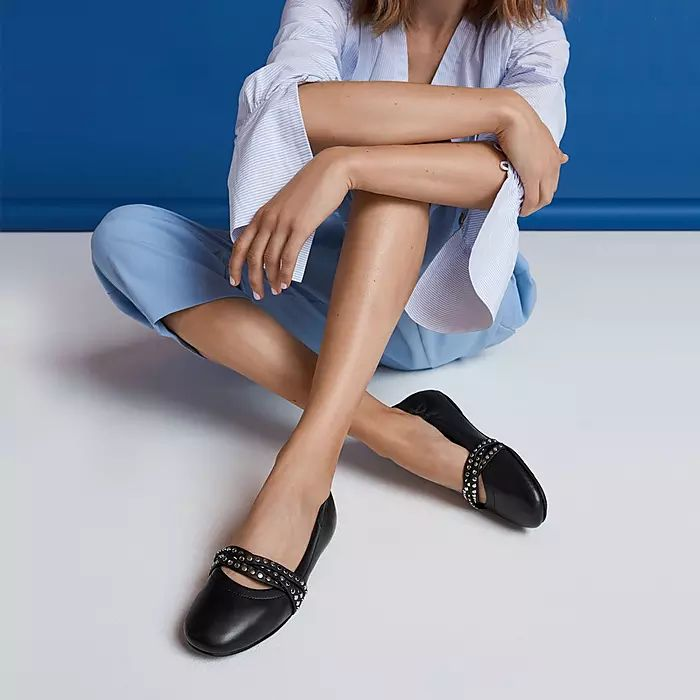 Allegro Rockstud Strappy Leather Ballet Flats