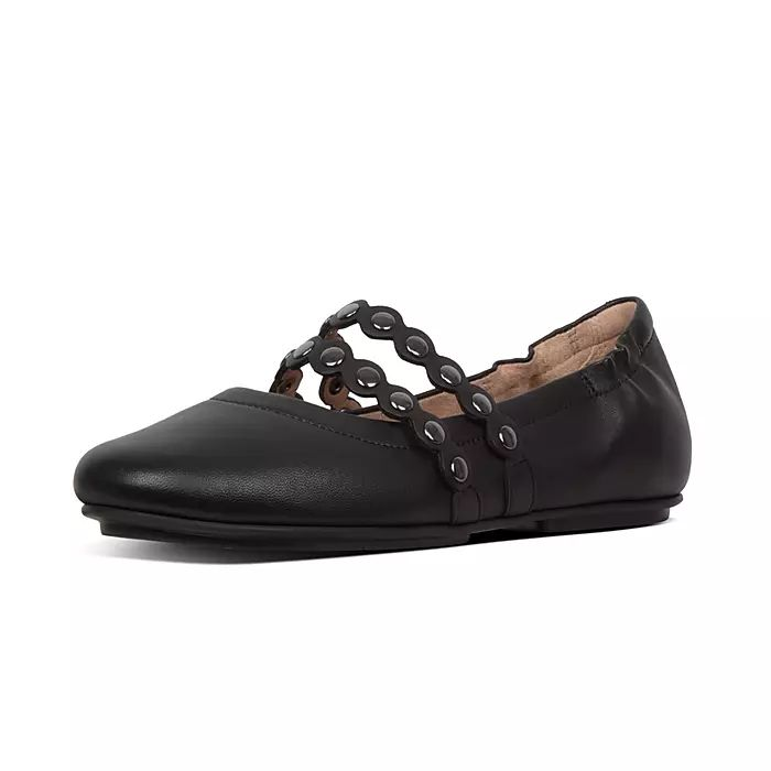 Allegro Scallop Leather Mary-Jane Ballet Flats