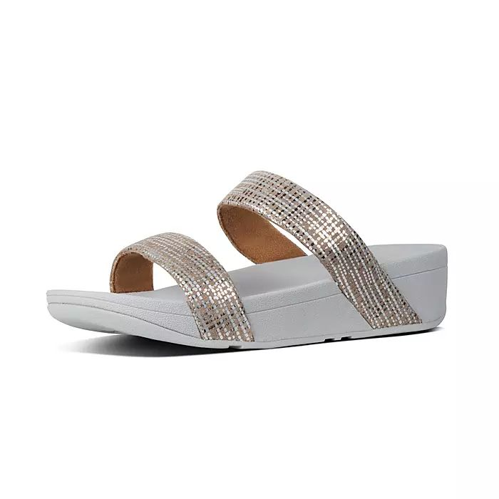 Lottie Chain-Print Suede Slides
