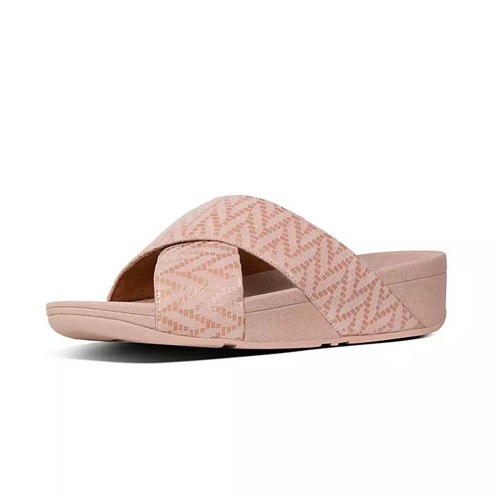 Lulu Chevron-Suede Cross Slides
