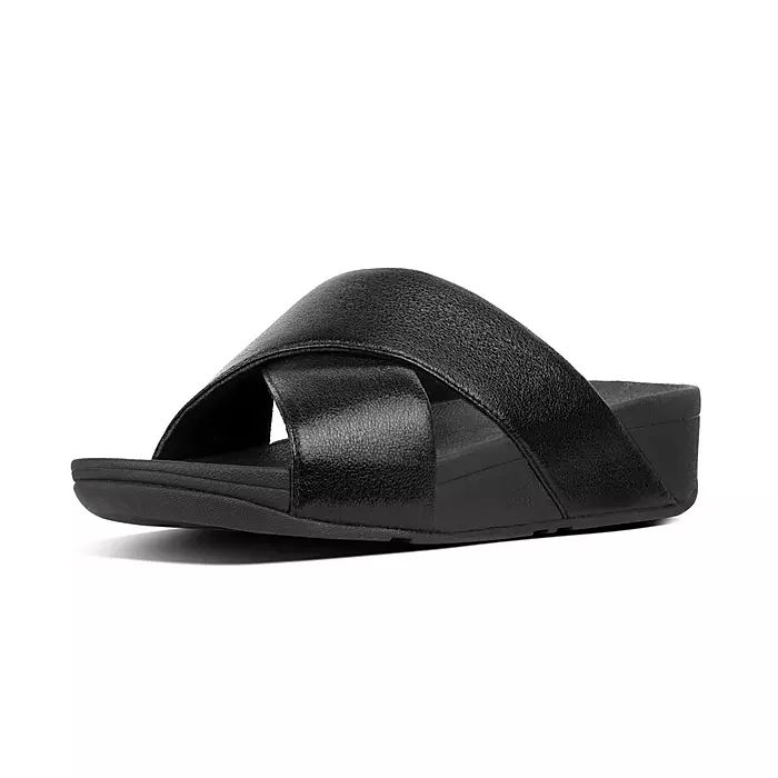 Lulu Faux Leather Cross Slides