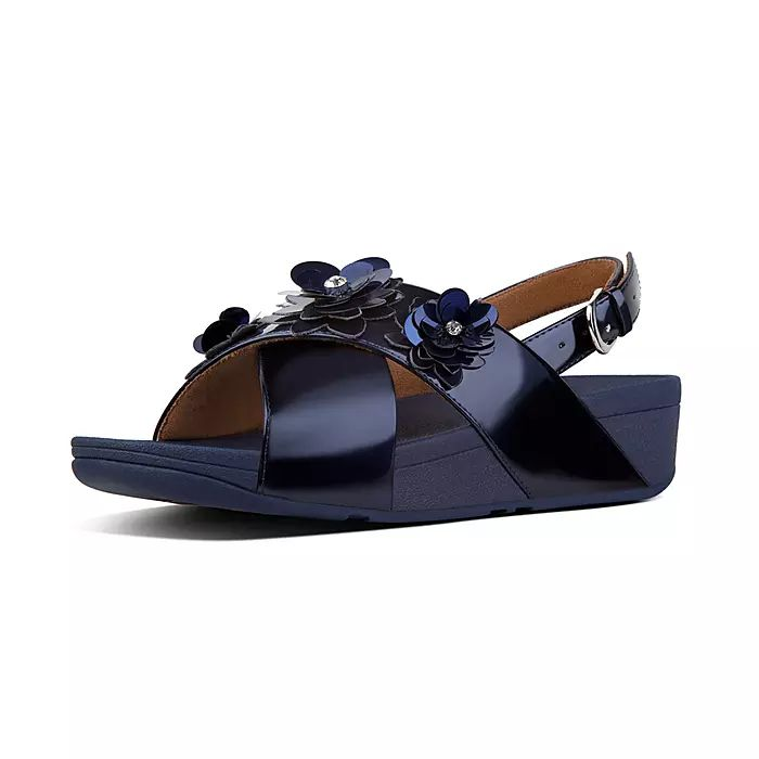 Lulu Flower Patent Back-Strap Sandals