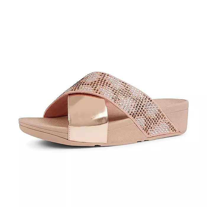 Lulu Leopard Crystal Cross Slides