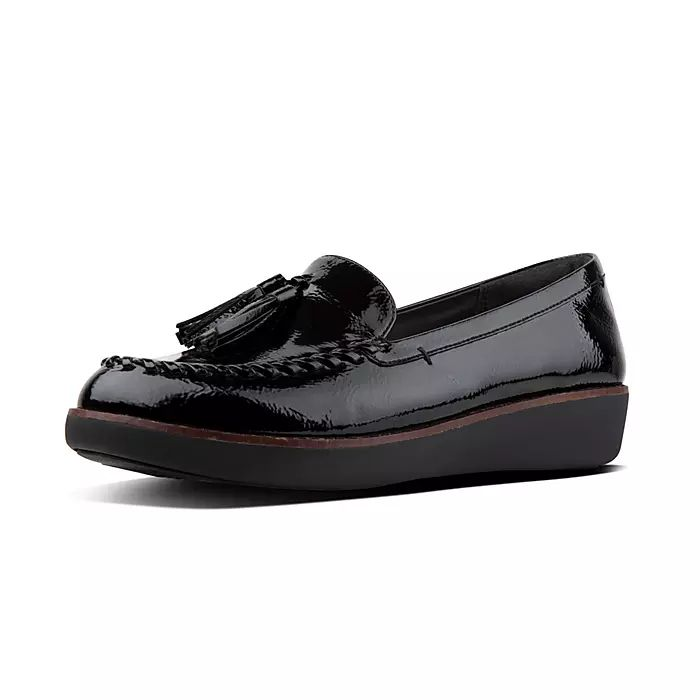 Petrina Crinkle-Patent Moccasin Loafers